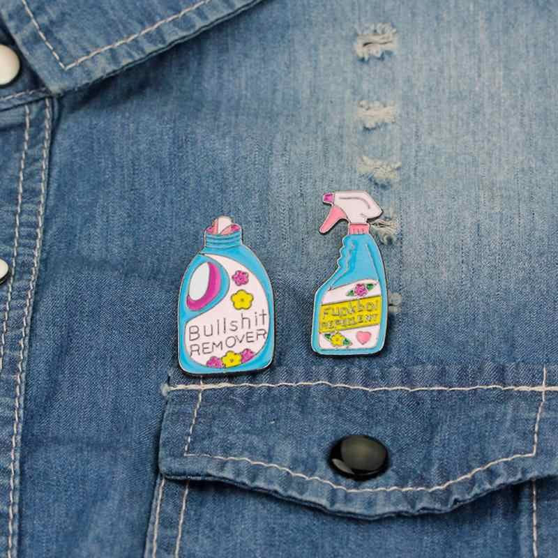 Fashion Bros Pin Lucu Cleaning Lencana Enamel Bros Kerah Pin Wanita Kostum Bros Geometris Botol Pin Perhiasan