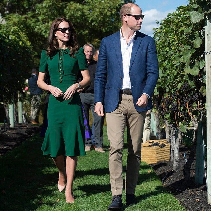 Kate Middleton sirène Milan Designer de piste de haute qualité été nouvelles femmes mode fête Sexy Vintage élégant Chic vert robe