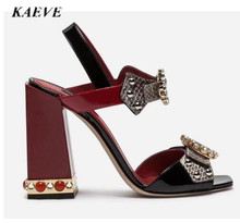New Crystal Jeweled Heels Fashion Sandals Runway Summer Chunk High Heel Rivets Rhinestone Studded Gladiator women sandals runway crystal rhinestone rivets studded women pumps slingback pointed toe summer sandals kitten heels crystal shoes women