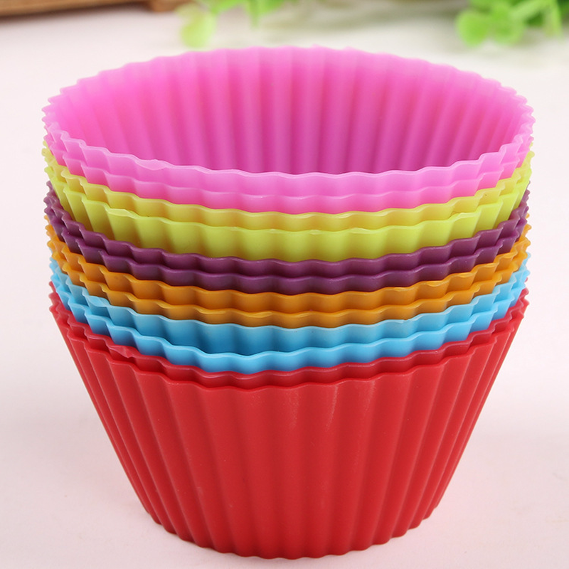 12pcs Round Shape Muffin Cupcake Mold Colorful Silicone