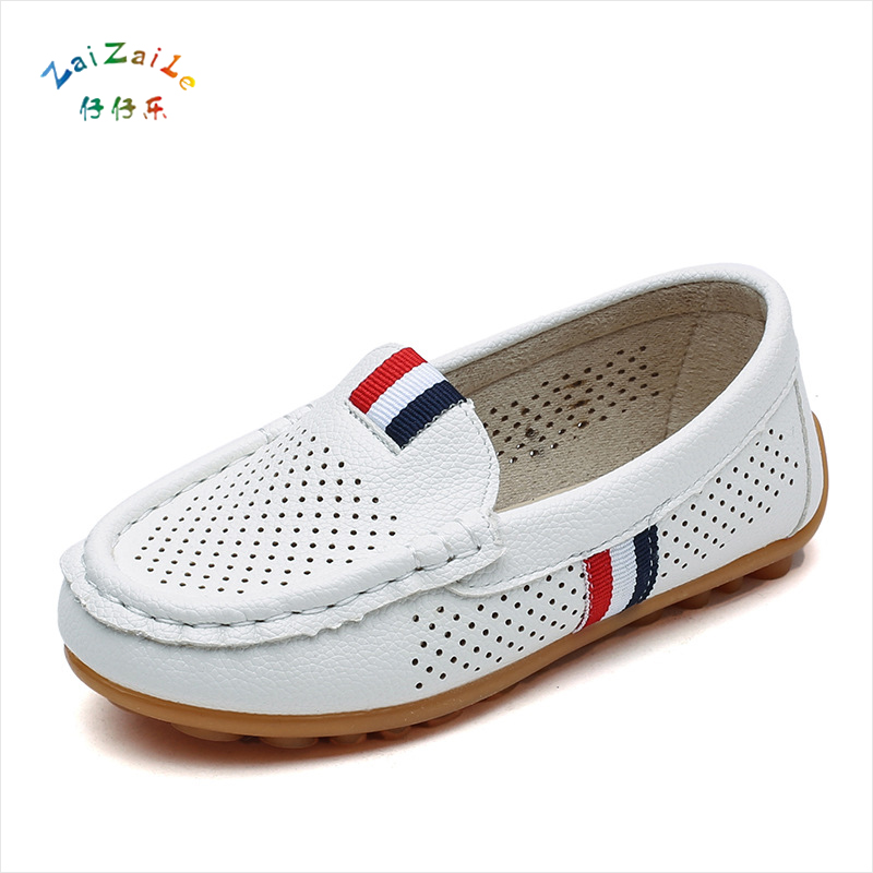 Hollow Casual Peas shoes 2018 Boys Breathable British PU Performance shoes 21-36 yards