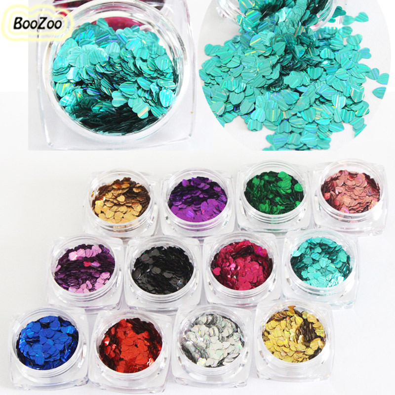 BlueZoo 12 Box New Charm Women Laser Nail Art Decoration Sequins Glitter Paillette Stripe Love Heart Manicure DIY For Nail Tips bluezoo 12 box set heart style manicure stickers for on nail art decoration 3d plastic glitter slices rhinestone studs diy