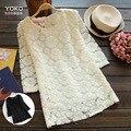 Корейский женские цветки кружева белье ropa де mujer blusa feminino blusas де-фрио kleding дам хлопок вышивка туника блузка рубашка