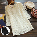 Korean female flowers lace linen ropa de mujer blusa feminino dames kleding blusas de frio cotton embroidery tunic blouse shirt