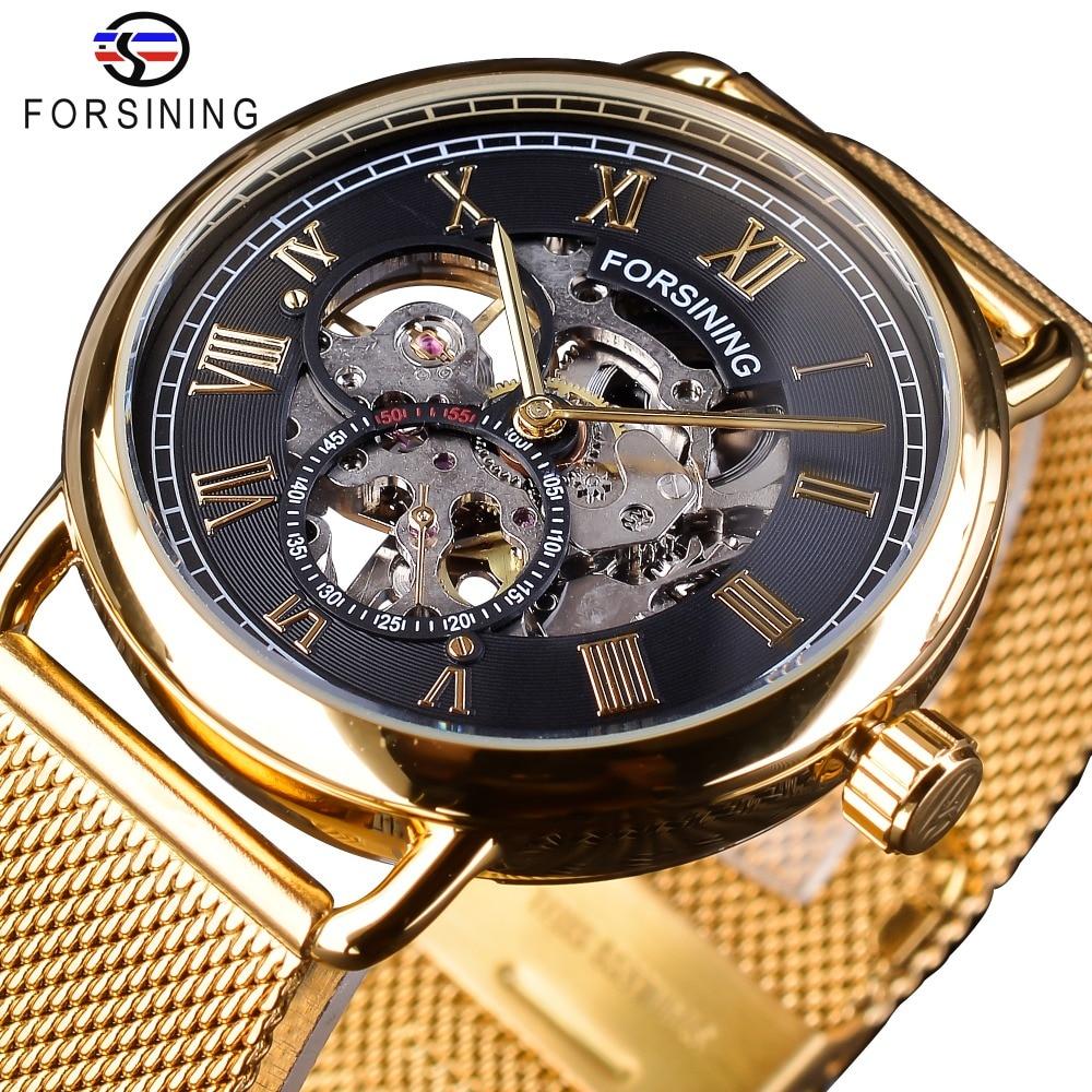 Forsining Klassische Schwarz Goldene Skeleton Uhr Mesh Band Design Wasserdicht männer Mechanische Uhren Top Marke Luxus Montre Homme