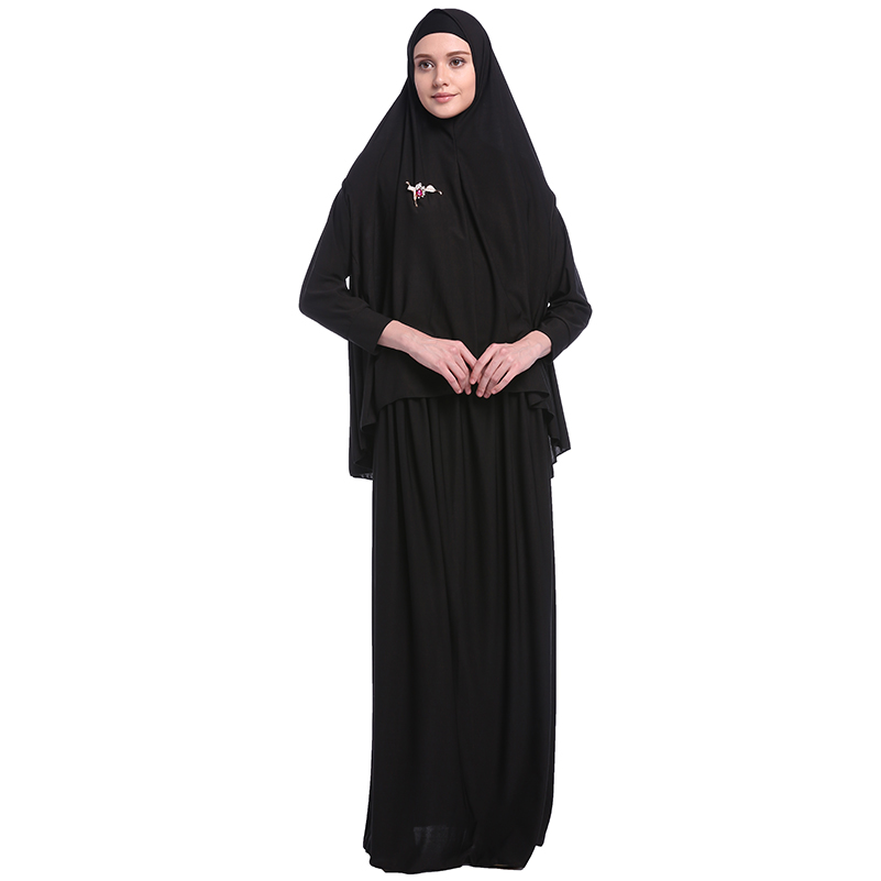 Babalet Womens' Black Burqas Overhead Butterfly Sleeve Two-Piece Sets full length Islamic Overhead Afghan <font><b>Afghanistan</b></font> Burqa image