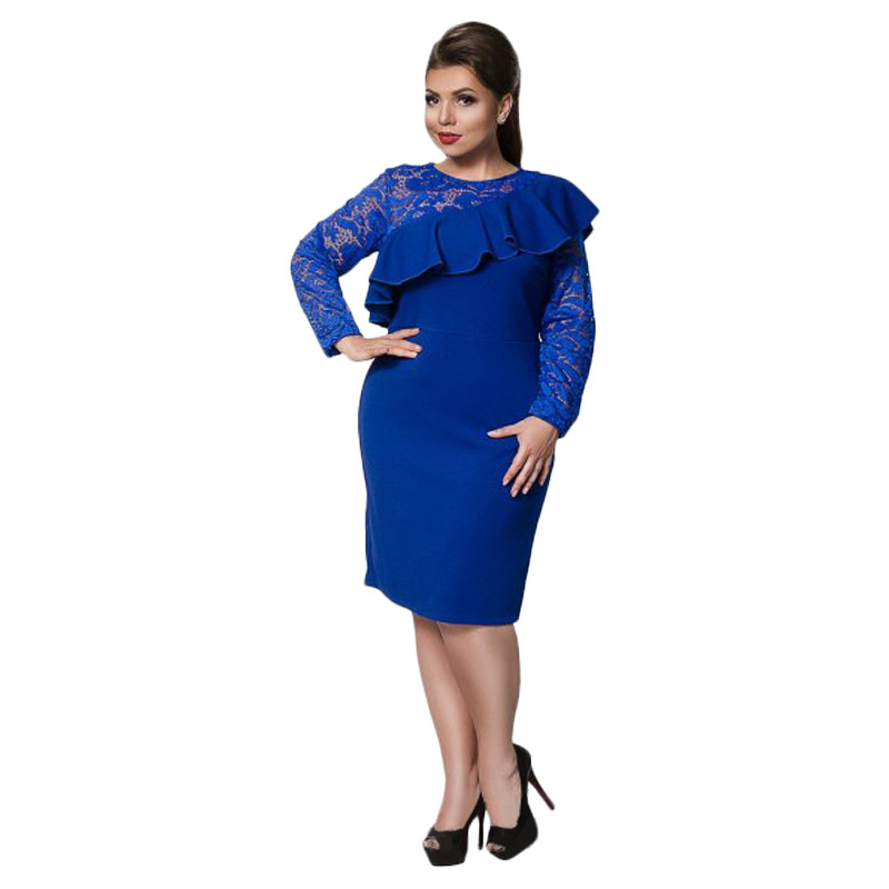 Big size 6XL 2019 Spring Woman Lace Dress Loose solid patchwork sexy party dresses Fat MM plus size women clothing 6xl dress