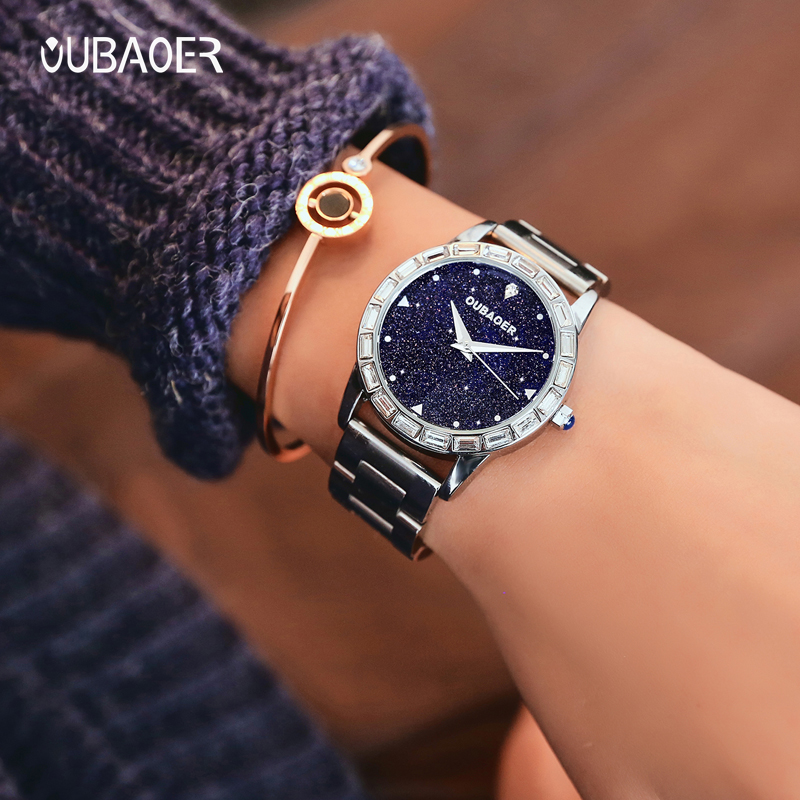 2018 OUBAOER Luxury Brand Fashion Women Watch Stainless Steel Gold Ladies Wrist Watches Uniqe Geneva Hodinky Clock Reloj Mujer