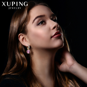 Image 3 - Xuping Jewelry Luxury Exquisite Crystals from Swarovski Gold Color Plated Earrings for Women Valentines Day Gifts M65 203