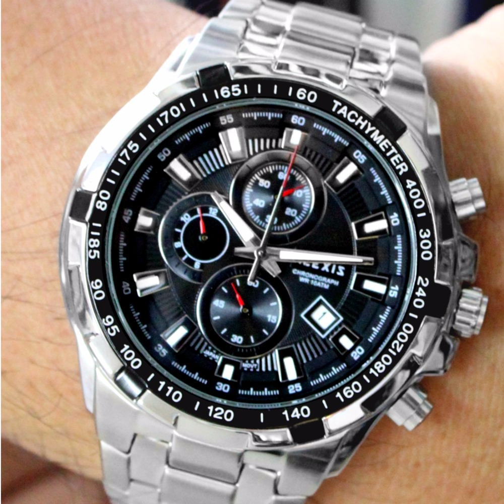 Alexis Men Analog Quartz Round Wrist Watch Miyota 0S10 Chronograph Matt Silver Stainless Steel Band Black Dial Water Resistant men s military style fabric band analog quartz wrist watch black 1 x 377