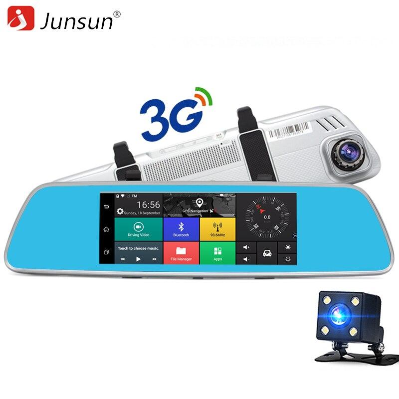 Junsun 7 3G Car Dual Lens Rearview Mirror Bluetooth Video Recorder FHD 1080P Camera DVR GPS