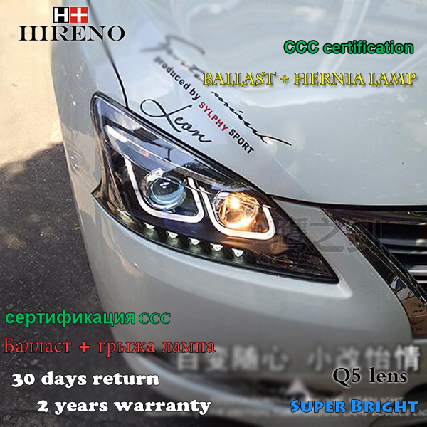 Hireno Headlamp for 2012-2014 Nissan Sentra Sylphy Headlight Assembly LED DRL Angel Lens Double Beam HID Xenon 2pcs 2pcs purple blue red green led demon eyes for bixenon projector lens hella5 q5 2 5inch and 3 0inch headlight angel devil demon