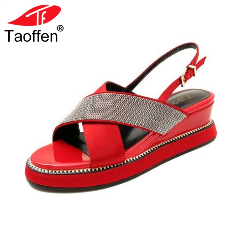 TAOFFEN Women Sandals Open Toe Buckle Wedges Mixed Color Women Female Summer Shoes Quality Shoes Holiday Footwear Size 33-40 taoffen women high heel sandals buckle open toe mixed color genuine leather ladies shoes sexy sandals party footwear size 33 40