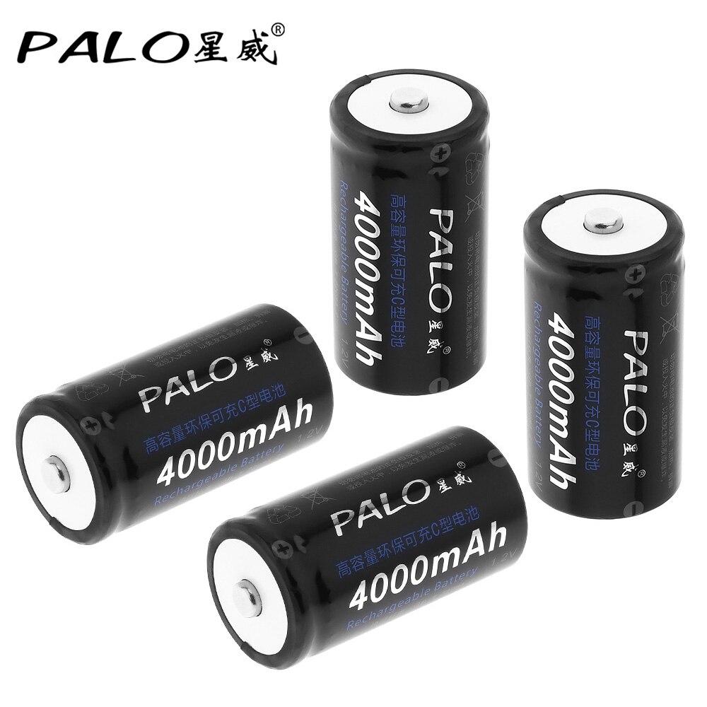 4 pièces! PALO 4000mAh 1.2V C taille Ni-MH NiMH batterie Rechargeable avec faible auto-décharge pour ménage lampe de poche chauffe-eau jouet