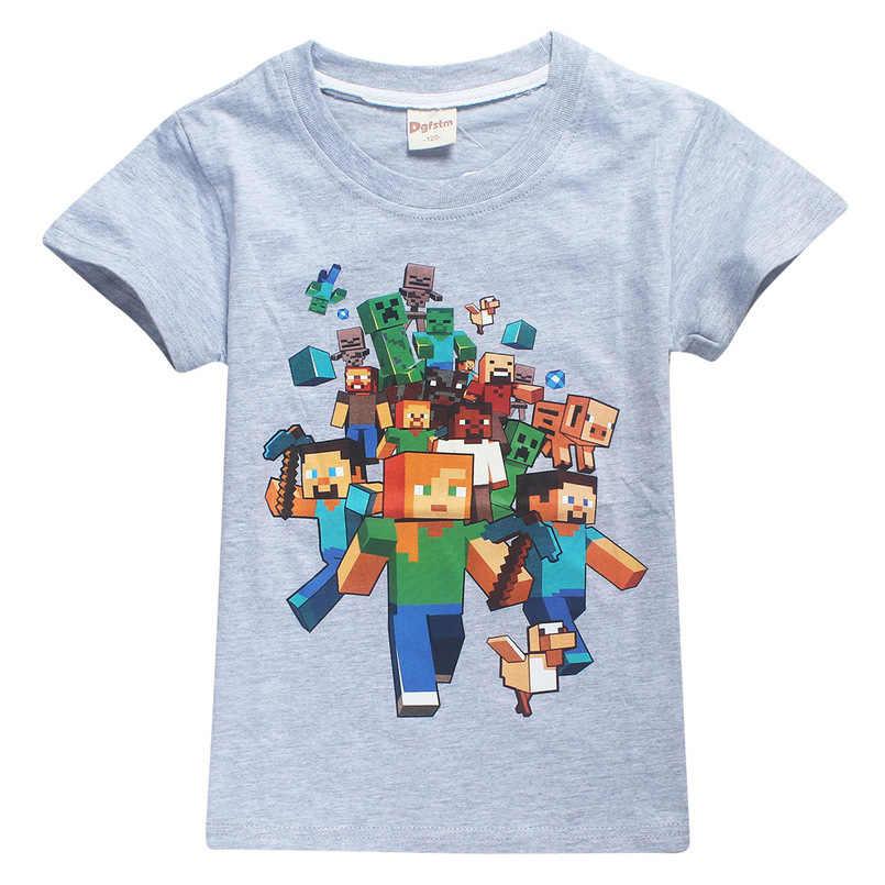 Minecraft Tops Summer Children T shirts girls Boys Clothes