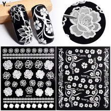 Y-XLWN New nail sticker Sticker 3D nail applique Three-dimensional white nail sticker Art Decoration nail sticker korea 3d nail sticker watermark applique phototherapy nail polish glue flower sticker white big sticker