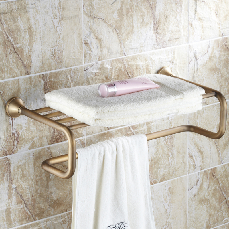 AUSWIND Antique Solid Brass Towel Rack Luxury Brushed Double Layer Wall Mounted Towel Shelf Towel Holder Bathroom Accessories