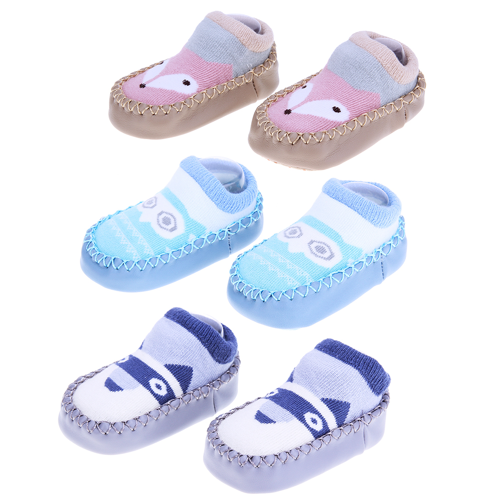 Cotton Baby Leather Socks Shoes Infant Toddlers Anti Slip Floor Socks First Walker Baby Soft Sole Indoor Floor Socks Prewalker
