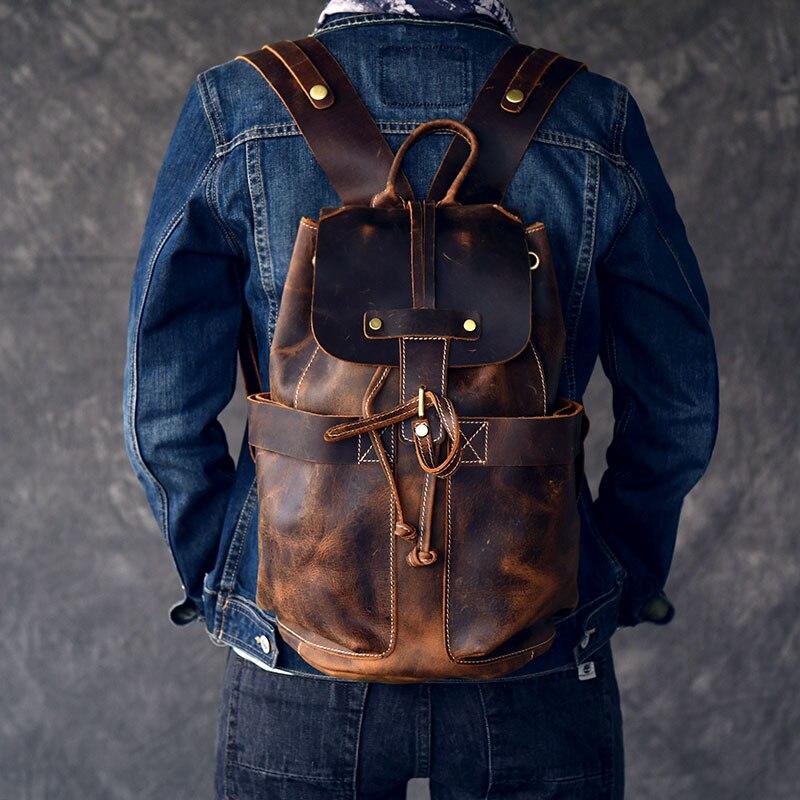 Grande capacité homme voyage sac alpinisme sac à dos à L'huile à la main En Cuir Véritable cordon seau sac à bandoulière Sac À Dos Mâle