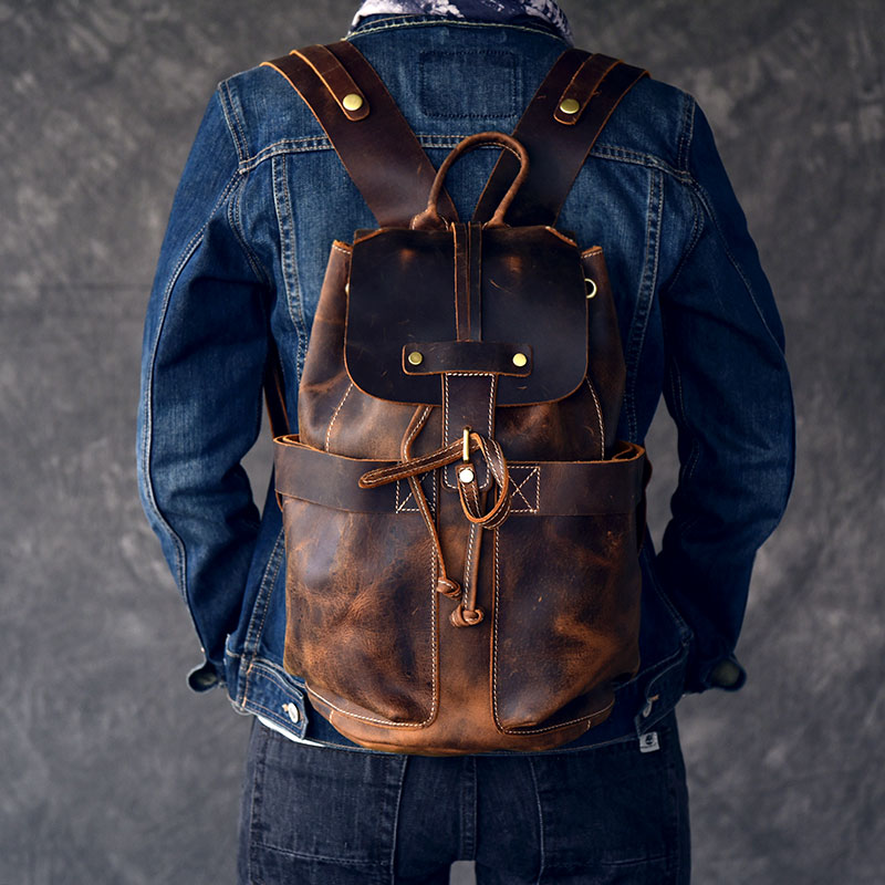 Large Capacity Man Travel Bag Mountaineering Backpack Handmade Oil Genuine Leather Drawstring Bucket Shoulder Bag Daypack Male