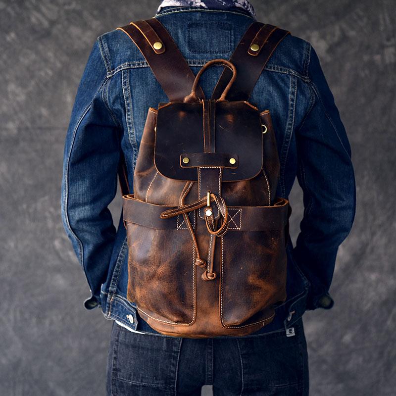 Large capacity man travel bag mountaineering backpack handmade Oil Genuine Leather drawstring bucket shoulder bag Daypack Male