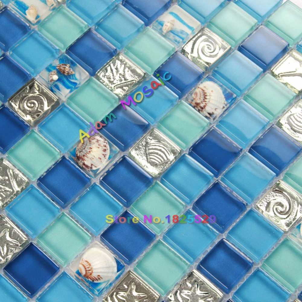 Ocean Blue Resin Tiles Green Bathroom wall tiles Glass Conch Mosaic ...