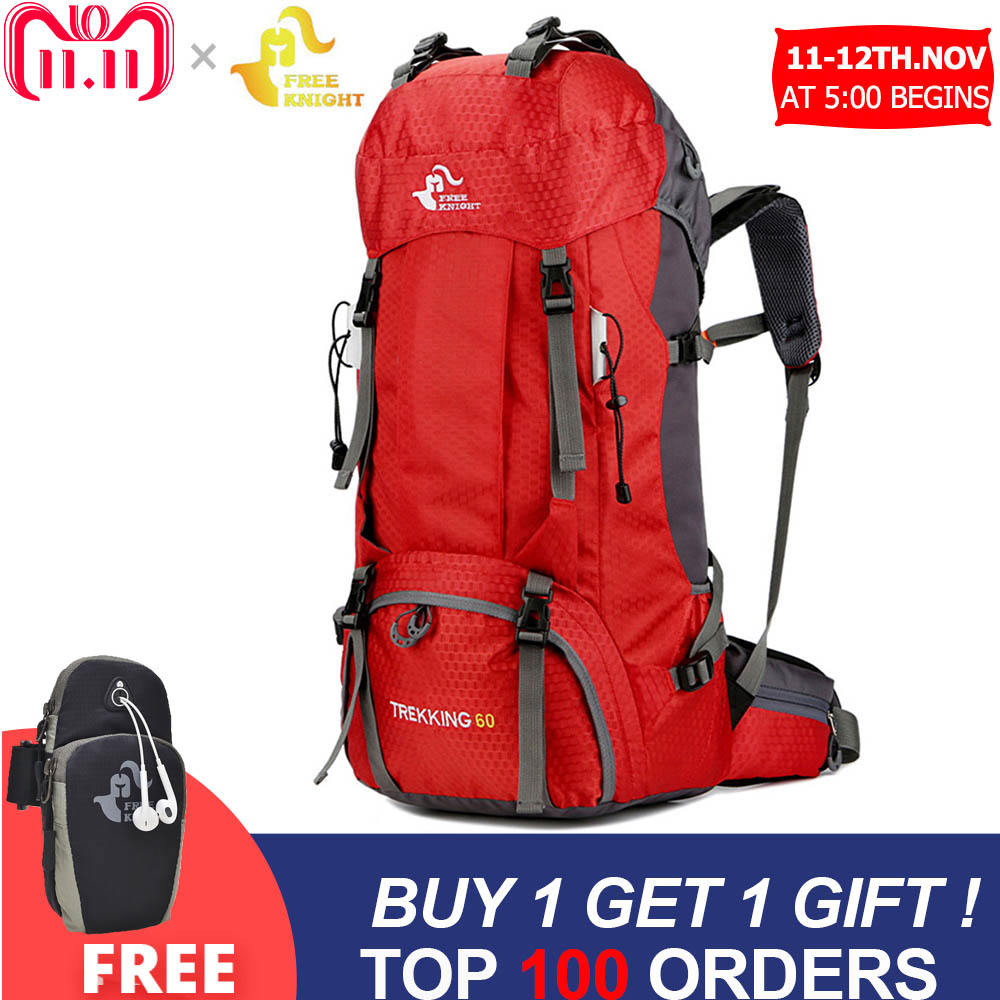 Free Knight 60L Waterproof Climbing Hiking Backpack Rain Cover Bag 50L Camping Mountaineering Backpack Sport Outdoor Bike Bag strong oxygen gazelle 26l backpack outdoor light breathable mountaineering bag double shoulder sport bag