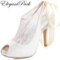 Free Shipping Elegantpark 2015 New HP1525I Ivory Open Toe Women S Ribbon Tie Bridal Fashion Party