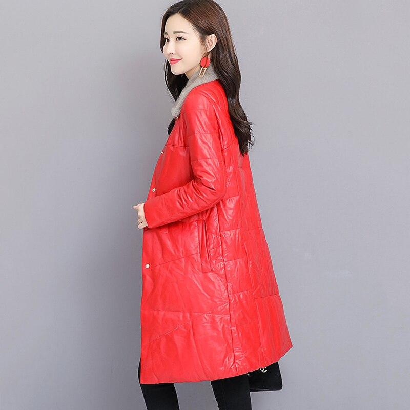 Grande Haute Bas Tempérament red blue Taille Black Le khaki Fourrure D'hiver Mode De Couleur Qualité creamywhite Vers Solide Femmes Col Veste En Nuw342 Cuir zrpOzwx