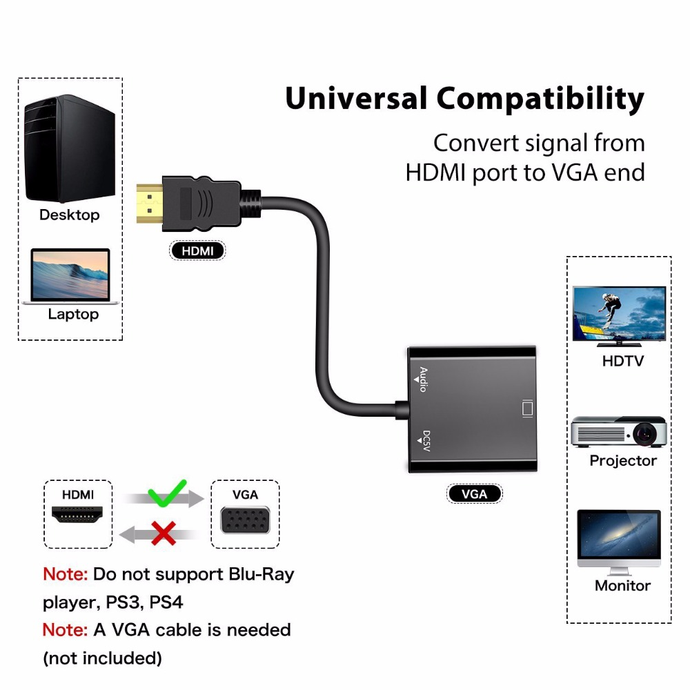 Suntaiho HDMI To VGA Adapter Converter HDMI VGA Adapter HD 1080P With Audio Output For  PS3 PS4 XBOX HDTV Andorid TV Box