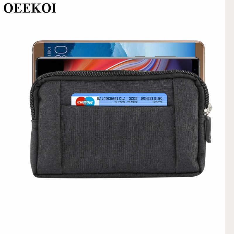 OEEKOI Universal Denim เข็มขัดกีฬากระเป๋าสำหรับ Doogee พิกเซล DG350/Turbo mini F1/เหล็กกระดูก DG750 /วาเลนเซีย DG800/X50L/X50