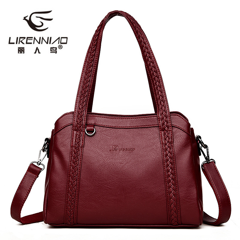 Knitting Women Genuine Leather Bags 2018 New Fashion Women Handbags Famous Designer Shoulder Crossbody Bag Ladies Tote Bag sac fashion luxury handbags women leather composite bags designer crossbody bags ladies tote ba women shoulder bag sac a maing for