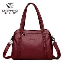 Knitting Women Genuine Leather Bags For Women 2018 Luxury Designer Handbags High Quality Shoulder Bag Ladies Tote Bags sac femme