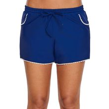 fd84406414 Women Summer Plus Size Stretch Board Shorts White Lace Trim Hem Tankini  Bottoms Drawstring Waistband Solid