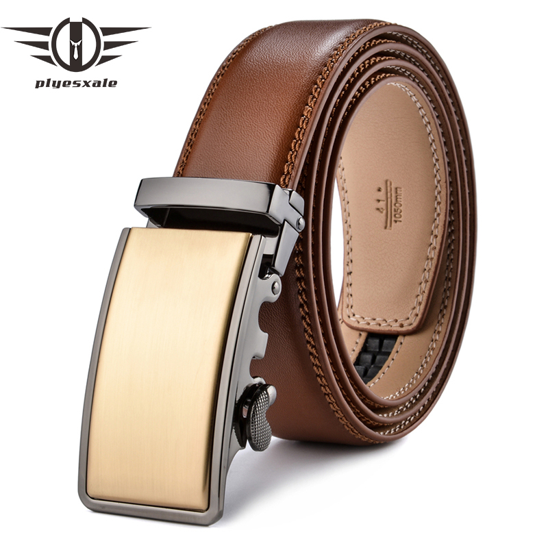 Plyesxale Leather Belt Men 2018 Gold Luxury Belts Men High Quality Brown Cowskin Belt Casual Automatic Buckle Waistband B56