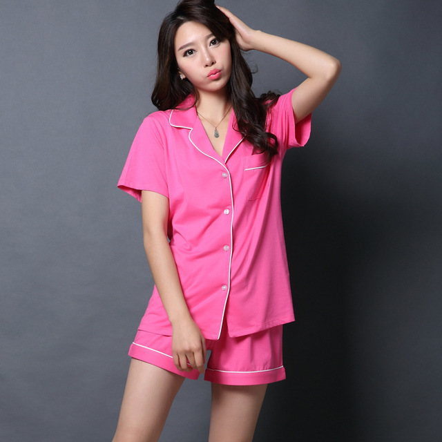 0019015ce6 Factory Directly New Summer 100% Cotton Short-sleeved Women Pajamas Sets  V-neck Sexy Quality Simple Ladies Homewear Sleep Lounge