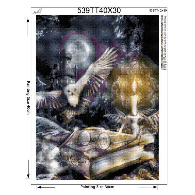 5D Diy Diamond painting Cross stitch Owl animal Diamond embroidery Magic book Full round Dimond moon