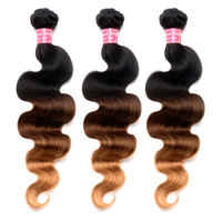 Ombre Hair Bundles Body Wave Brazilian Hair Weave Bundles 100% Human Hair 1B/4/27 3 Tones Remy Hair Venvee