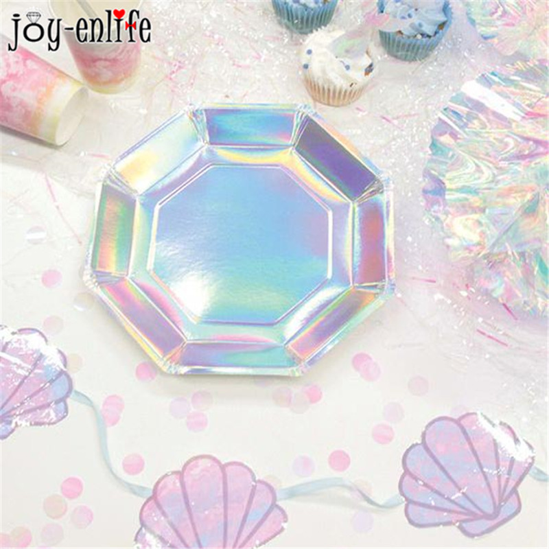 JOY-ENLIF 8pcs Rainbow Gradient Disposable Tableware Iridescent Paper Plates Birthday Party Decor Weeding Mermaid Party Supplies ...