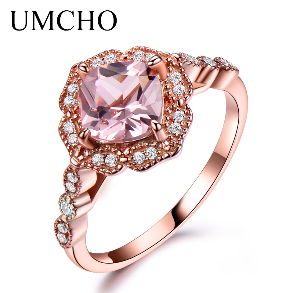 buy umcho silver 925 nano morganite rings for women engagement party rose gold. Black Bedroom Furniture Sets. Home Design Ideas