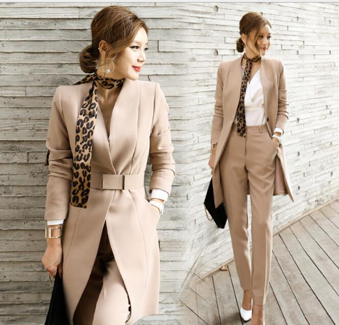 2018 Fashion Elegant Women Business Suits Women's OL Tops+Long Pants Office 2 Piece Sets Ladies Formal Work Wear With Scarf