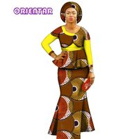2018 Autumn African Dresses for Women Private Custom Women Dresses African Dashiki Skirt Set+Head Scarf 3 Pieces Clothing WY2900
