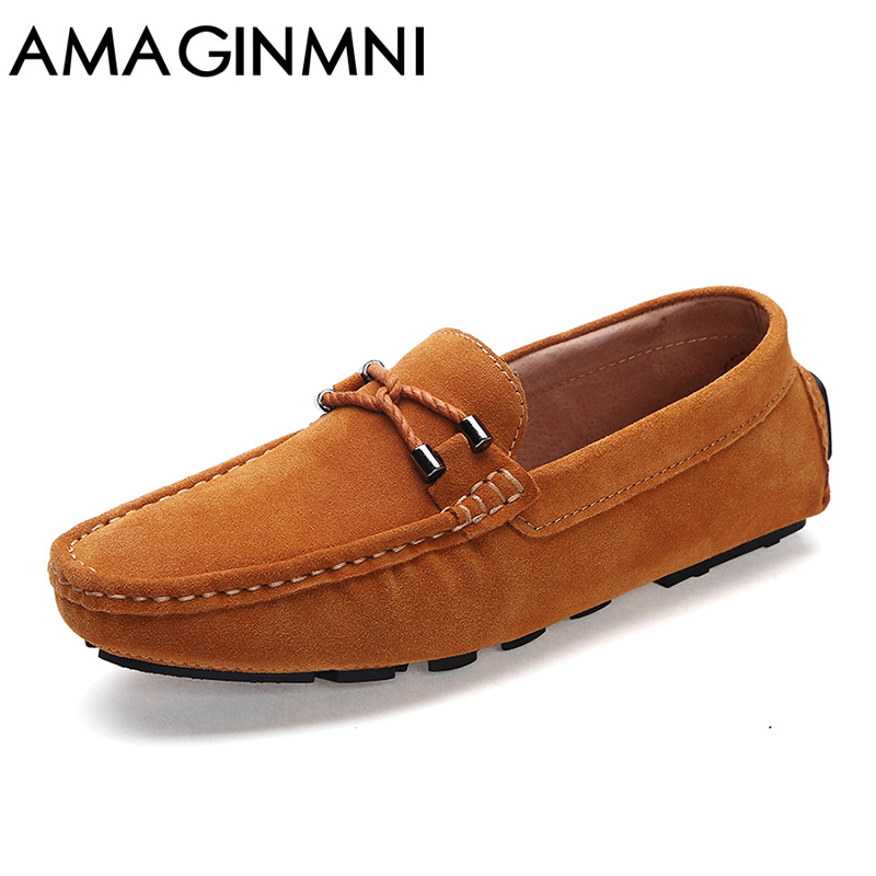 AMAGINMNI Brand Fashion Summer Style Soft Moccasins Men Loafers High Quality Genuine Leather Shoes Men Flats Driving Shoes relikey brand summer slip on driving shoes for men full grain leather high quality breathable moccasins soft solid men shoes