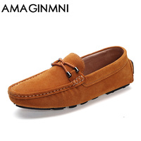 AMAGINMNI Brand Fashion Summer Style Soft Moccasins Men Loafers High Quality Genuine Leather Shoes Men Flats