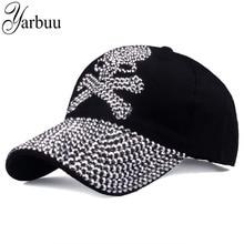 [YARBUU] baseball caps for women and men Casual Rhinestones Skull cap new fashion high quality Unisex hat Female Peaked