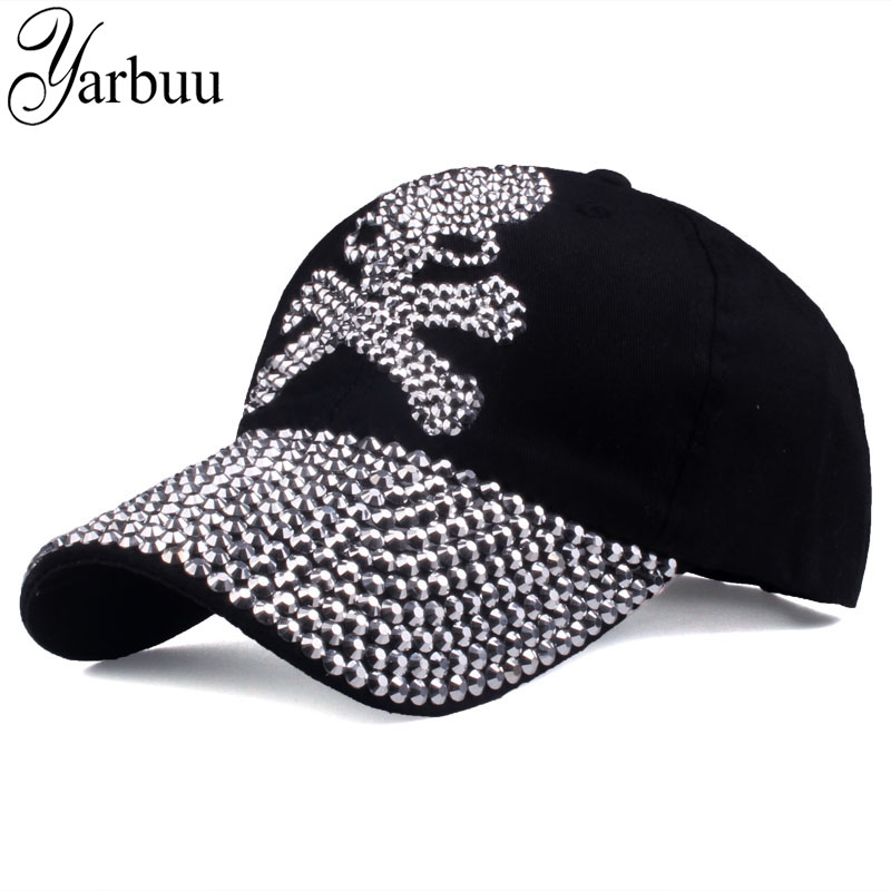 [YARBUU]   baseball     caps   for women and men Casual Rhinestones Skull   cap   new fashion high quality Unisex hat Female Peaked   cap