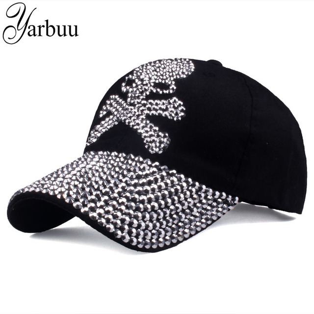 9831409eb10  YARBUU  baseball caps for women and men Casual Rhinestones Skull cap new  fashion high quality Unisex hat Female Peaked cap