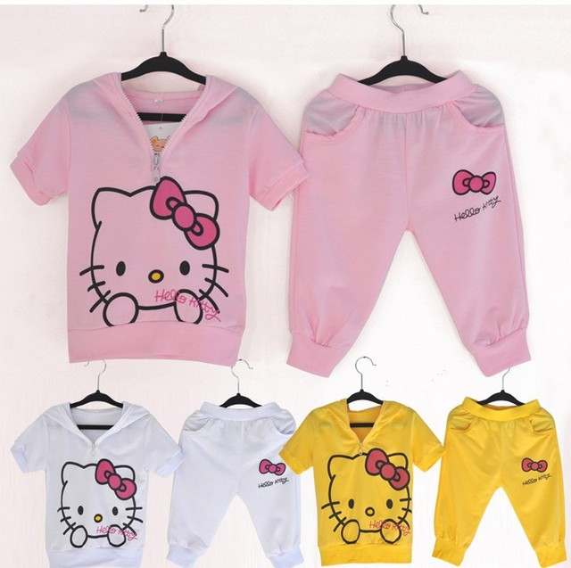 df7fa903d03 WH347 wholesale hello kitty children clothing set baby girl summer kitty  clothes set girl fashion kitty short sleeve clothes set