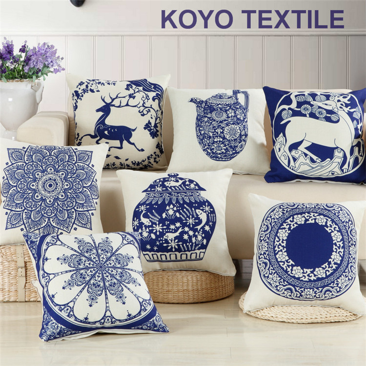 Vintage Ethnic Decoration China Blue and White Procelain Vase Geometry Print Cheap Sofa Car Cushions Cover Throw Pillow Case