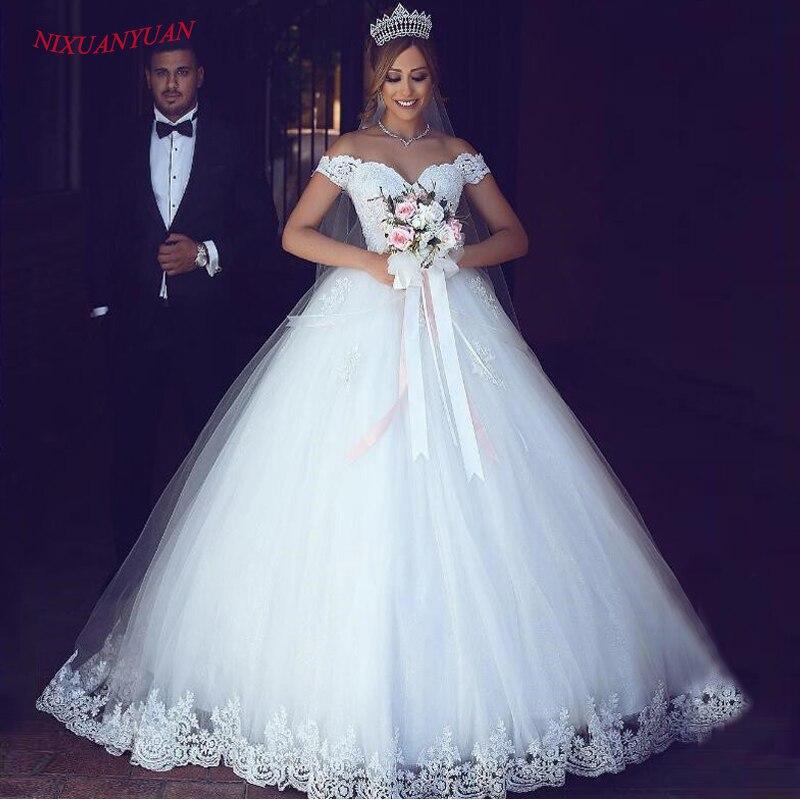 NIXUANYUAN dentelle blanche Appliques robe de bal pas cher robes de mariée 2018 hors de l'épaule manches courtes robes de mariée robes de mariée